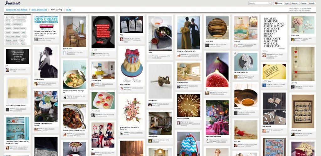 La PinBoard, la home page personalizzata con le foto e le immagini del social network basato su foto, Pinterest