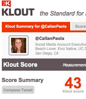 Un account Klout con il calcolo del punteggio d'influenza