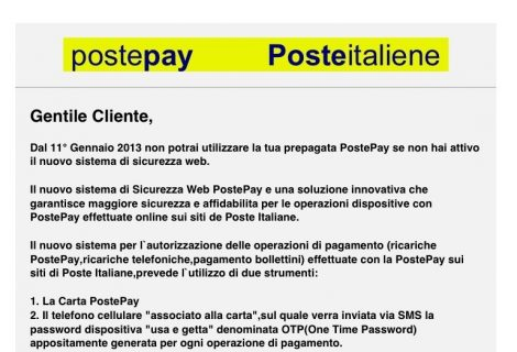 Attacco phishing a clienti PostePay