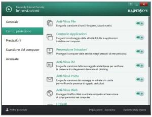 kaspersky impostazoni - centro protezione