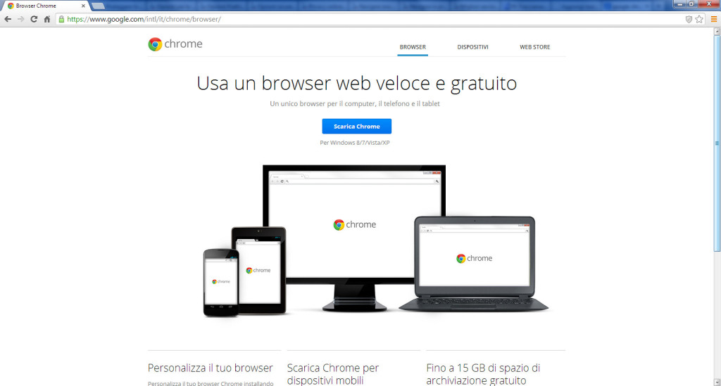 Schermata per il download di Google Chrome