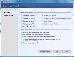 firewall base - impostazioni avanzate