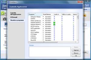firewall zona alarm - controllo applicazion - visualizza-programmi