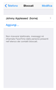 Funzione Blacklist - iPhone iOS7