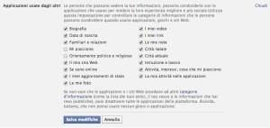 Permessi applicazioni Facebook - screenshot