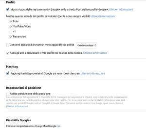Impostazioni privacy google+