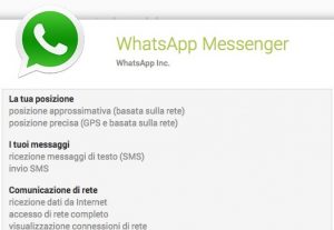 permessi richiesti da whatsapp