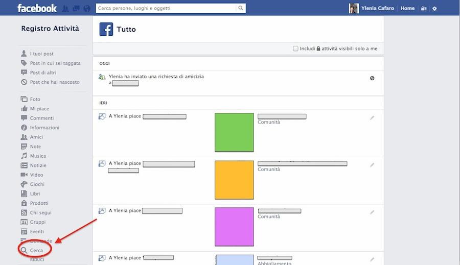 Cronologia ricerca su Facebook