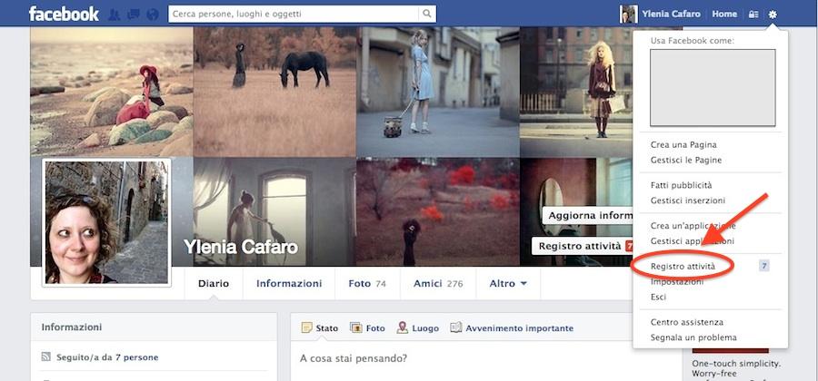 Registro attività di Facebook