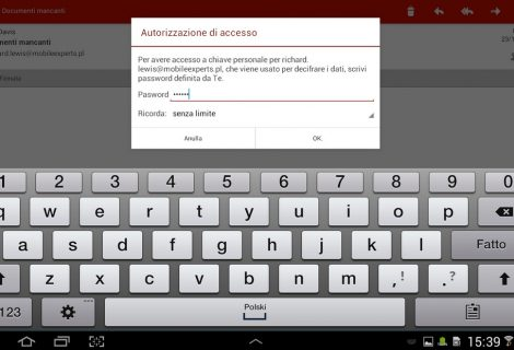 Android. Inviare email cifrate con MySecureMail