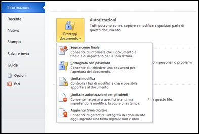 Opzioni di protezione di un documento