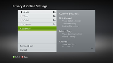 Gestire la Privacy dell'account Xbox Live