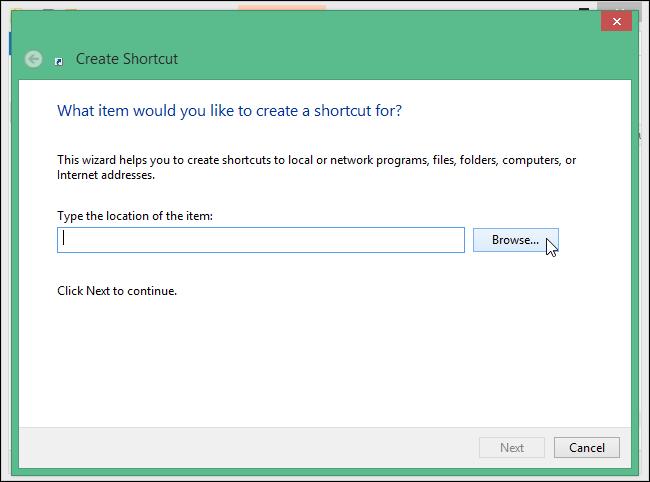 Aggiungere programmi alla barra di avvio - sfogliare le cartelle per selezionare il programma