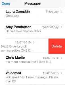 Eliminare messaggi di testo su Iphone