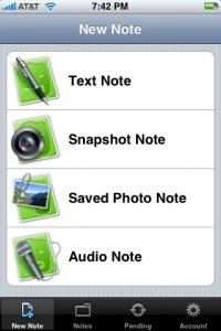 Evernote per iPhone, crea una nuova nota