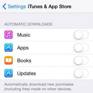 Impostazioni iTunes & App Store per accelerare iPhone
