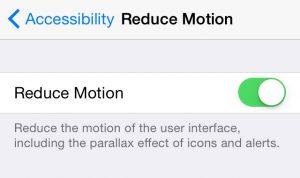Impostazioni riduzione movimento iPhone
