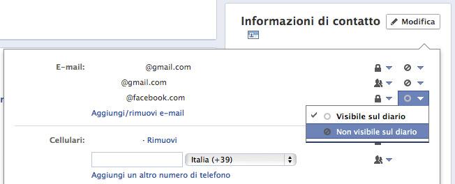 Informazioni di contatto su Facebook