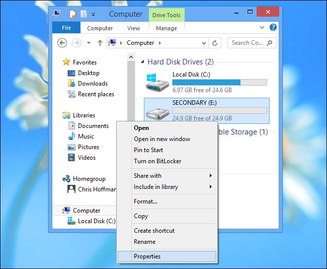 Installare app Windows su scheda SD - Passo 1: selezionare le proprietà della memoria esterna (SD o disco)