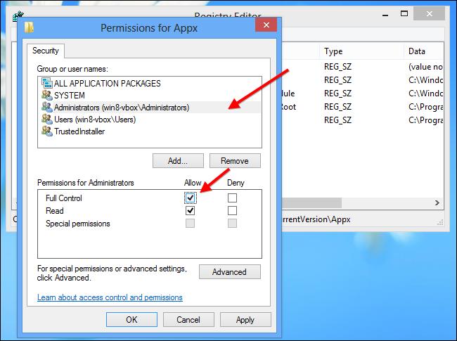 Installare app Windows su scheda SD - Passo 12: selezionare Amministratori e abilitare il controllo completo