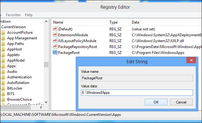 Installare app Windows su scheda SD - Passo 13: inserire il percorso della cartella creata in precedenza