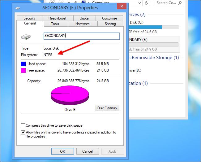 Installare app Windows su scheda SD - Passo 2: assicurarsi che l'unità sia formattata come NTFS