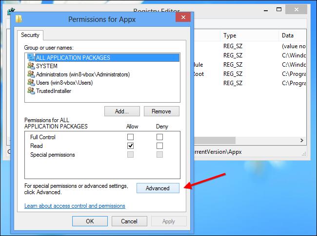 Installare app Windows su scheda SD - Passo 8: Selezionare le opzioni avanzate dei permessi della cartella Appx
