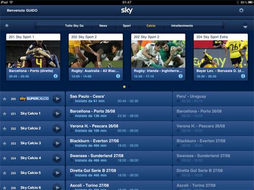 Guida Tv per SkyGo