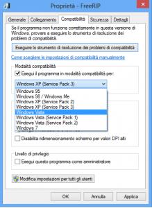 In caso di problemi durante l'installazione di un programma vecchio si può usare la modalità compatibilità software Windows 8