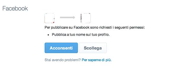Impostazioni per autorizzare il collegamento tra gli account Facebook e Twitter
