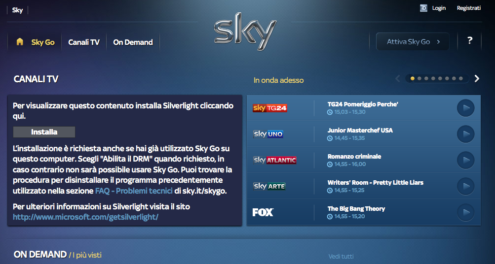Home page di SkyGo
