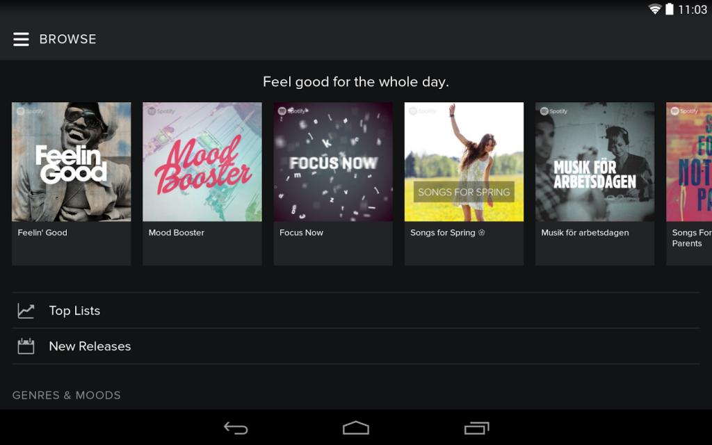 Spotify per Android per creare numerose playlist