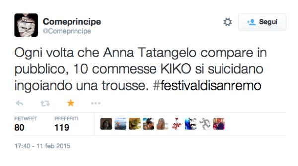 Tweet creato durante Sanremo