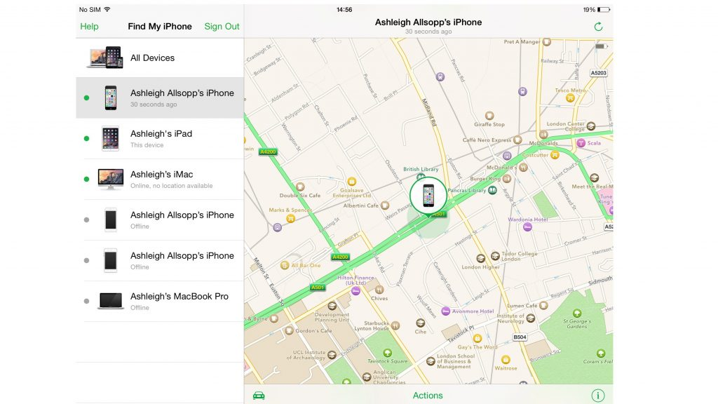 Find my iPhone su iOS 8: la mappa per individuare il device