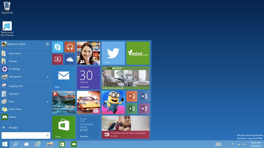 start menu e desktop di windows 10