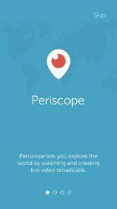 Periscope su Android. Come funziona: la schermata iniziale dell'applicazione