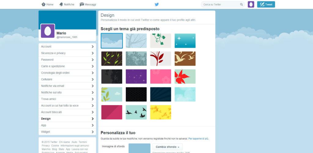 """Twitter: l'opzione """"Design"""" permette di personalizzare al meglio la grafica del profilo."""