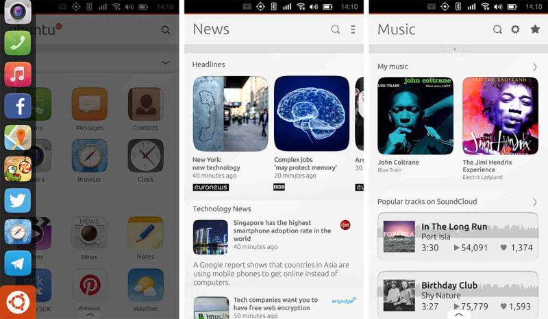 Ubuntu Touch: grafica chiara ed essenziale, con gesture un po'troppo complicate da assimilare