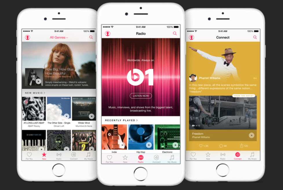 Tre schermate su iPhone del nuovo Apple Music