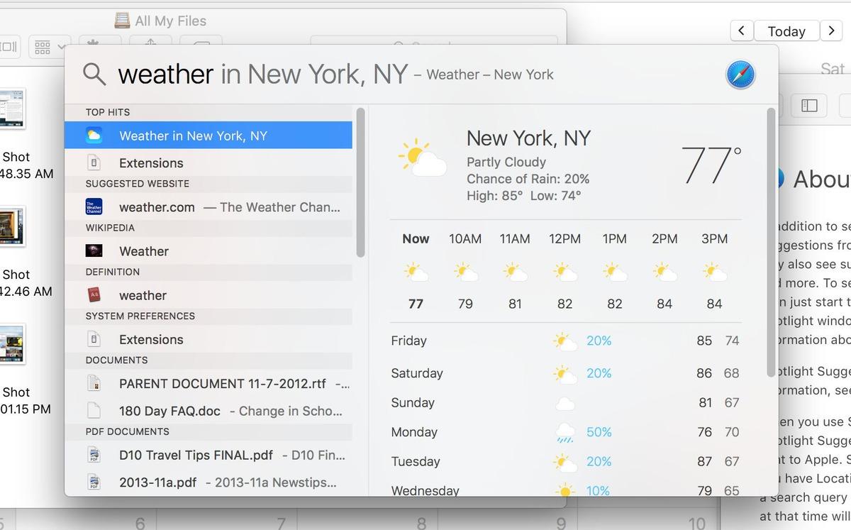 Mac OS X El Capitan. Le caratteristiche: schermata diSpotlight