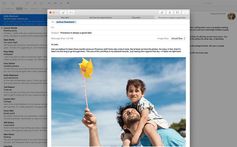 Mac OS X El Capitan. Le caratteristiche: schermata di Mail