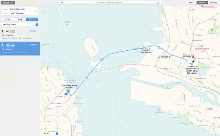 Mac OS X El Capitan. Le caratteristiche: schermata app mappe
