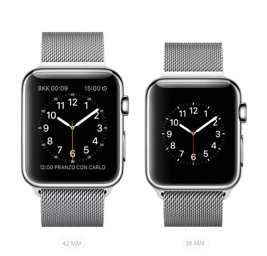 Apple Watch. Alvia le vendite, ecco come scegliere. Confronto da 38 mm e 42 mm