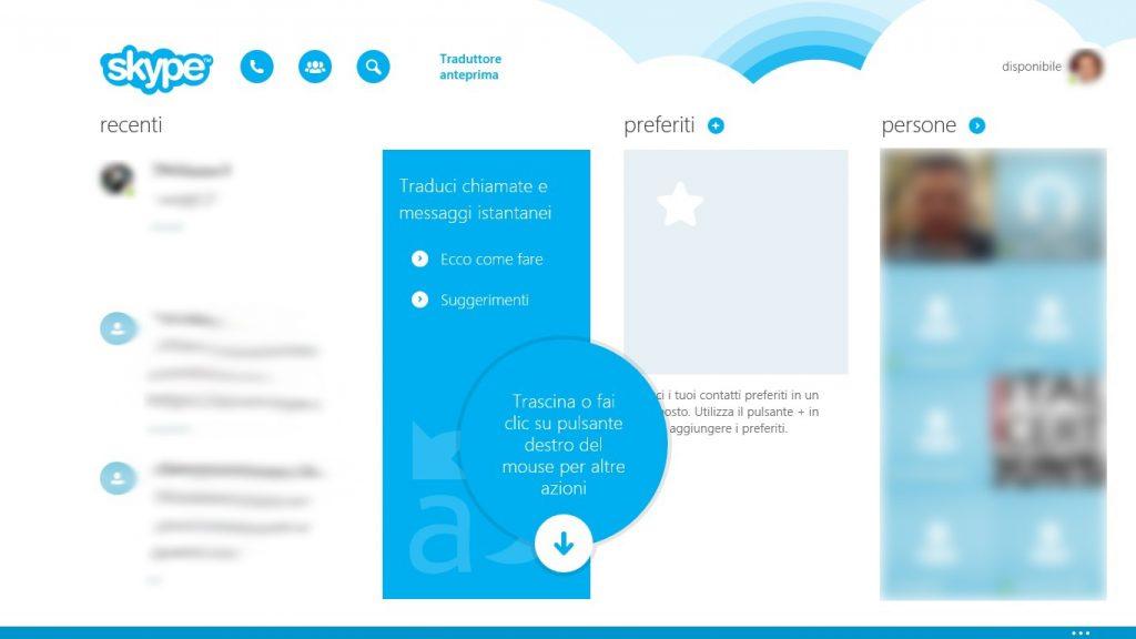 Skype Translator, come funziona: la schermata principale riprende tutte le funzioni di Skype, dai contatti alle attività recenti.