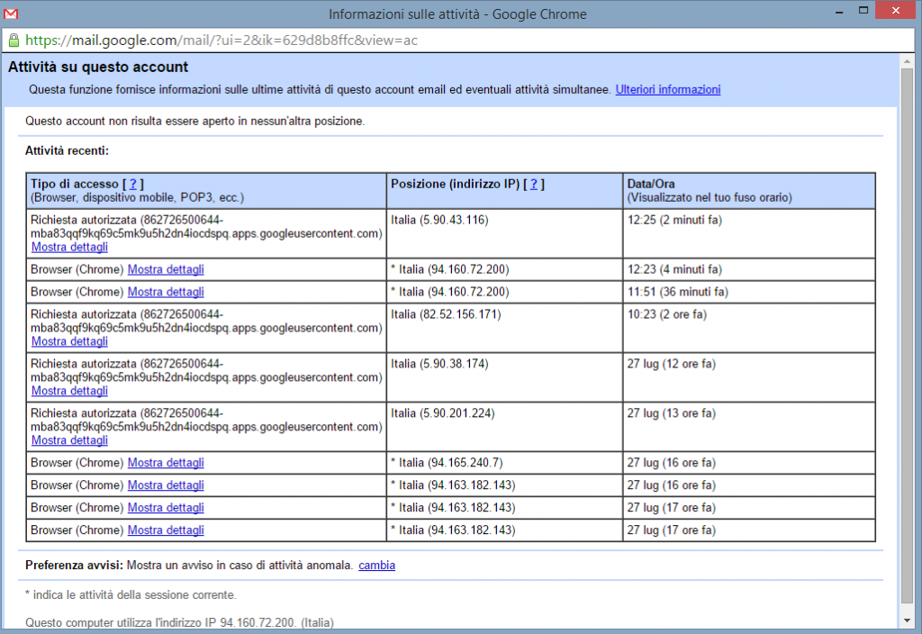 Gmail, trucchi e consigli: in Dettagli si possono visualizzare le sessioni di Gmail ancora attive e le attività recenti