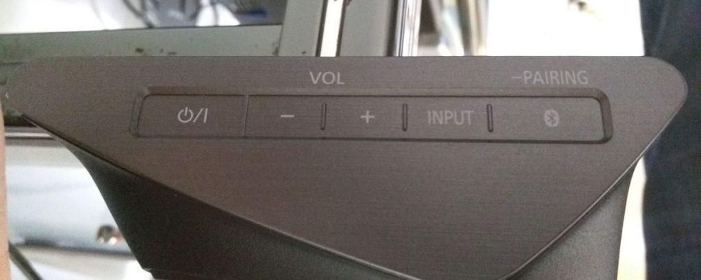 I tasti della SoundBar SC-HTB885 sono molto eleganti e si attivano con lo sfioramento