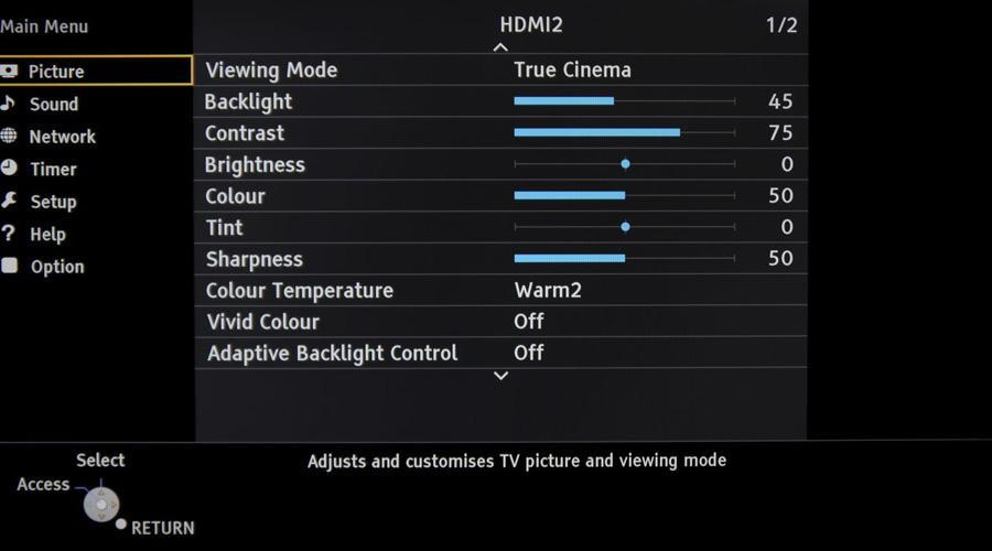 Panasonic Viera AS650, il menù principale offre numerose opzioni per la regolazione delle immagini.