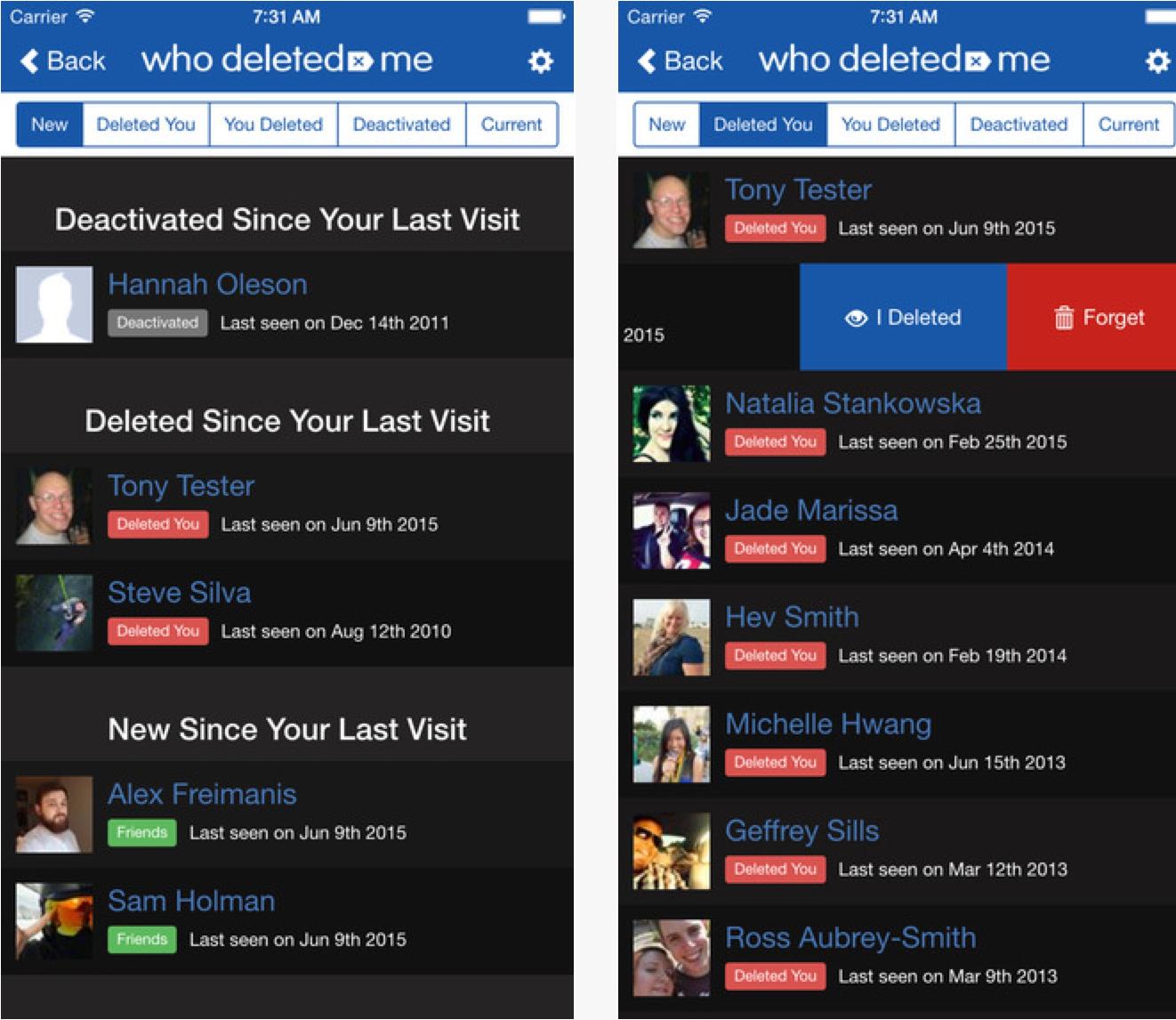 La chiara interfaccia di Who deleted me, che permette di avere sempre sotto controllo lo stato della lista di amici di Facebook