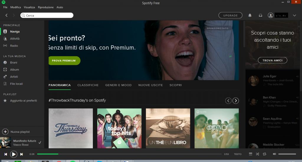 Spotify: trucchi, consigli. Nella sezione Naviga vengono proposte le playlist del momento, le hit e suggerimenti musicali