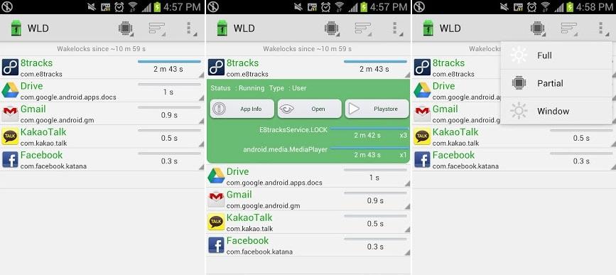 Trovare app che consumano batteria su Android: con Wakelock Detector si può visualizzare la lista delle applicazioni più dispendiose in termini di carica